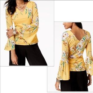 Thalia Sodi Yellow Floral Bell Sleeve Top Small
